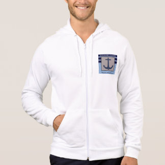 Boat Anchor design & Navy Blue Nautical Stripes Hoodie