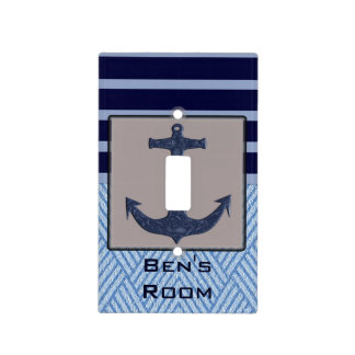 Boat Anchor design & Navy Blue Nautical Stripes Light Switch Cover