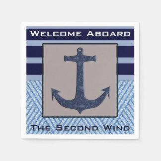 Boat Anchor design & Navy Blue Nautical Stripes Napkin