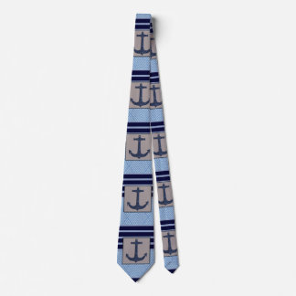 Boat Anchor design & Navy Blue Nautical Stripes Neck Tie