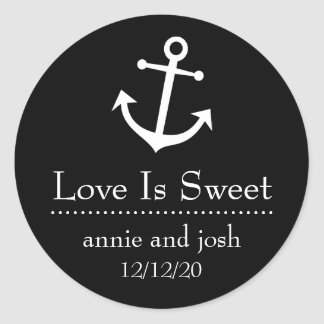 Boat Anchor Love Is Sweet Labels (Black) Classic Round Sticker