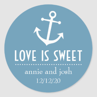 Boat Anchor Love Is Sweet Labels (Blue Gray) Classic Round Sticker