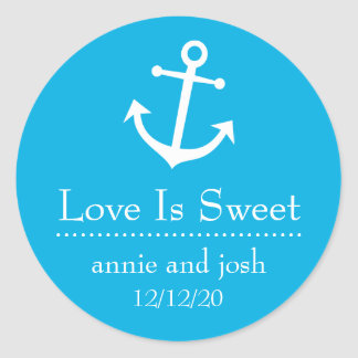 Boat Anchor Love Is Sweet Labels (Blue) Classic Round Sticker
