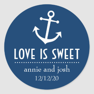 Boat Anchor Love Is Sweet Labels (Dark Blue) Classic Round Sticker