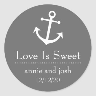 Boat Anchor Love Is Sweet Labels (Dark Gray) Classic Round Sticker