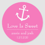 Boat Anchor Love Is Sweet Labels (Dark Pink) Classic Round Sticker
