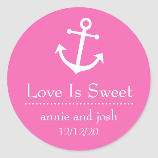 Boat Anchor Love Is Sweet Labels (Dark Pink) Stickers