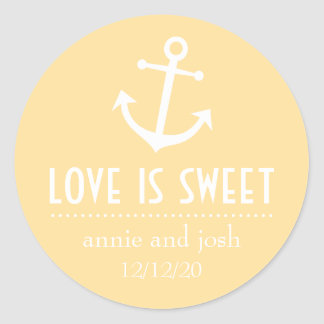 Boat Anchor Love Is Sweet Labels (Gold) Classic Round Sticker