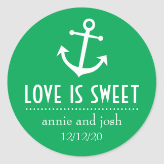 Boat Anchor Love Is Sweet Labels (Green) Classic Round Sticker