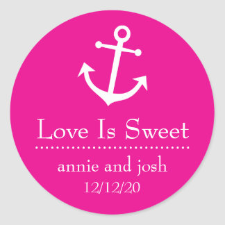 Boat Anchor Love Is Sweet Labels (Magenta Pink) Classic Round Sticker
