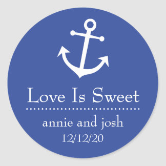 Boat Anchor Love Is Sweet Labels (Navy Blue) Classic Round Sticker