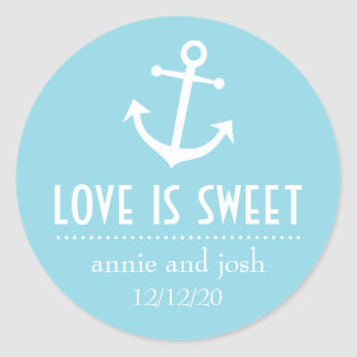 Boat Anchor Love Is Sweet Labels (Pale Blue) Classic Round Sticker