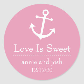 Boat Anchor Love Is Sweet Labels (Pale Pink) Classic Round Sticker