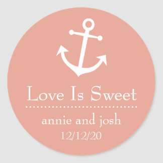 Boat Anchor Love Is Sweet Labels (Peach) Classic Round Sticker