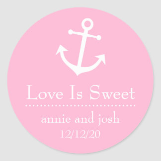 Boat Anchor Love Is Sweet Labels (Pink) Classic Round Sticker