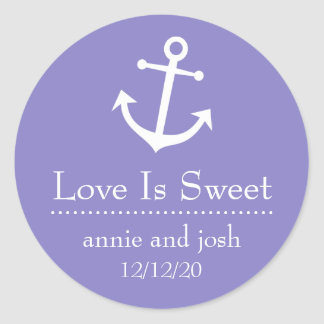 Boat Anchor Love Is Sweet Labels (Purple) Classic Round Sticker