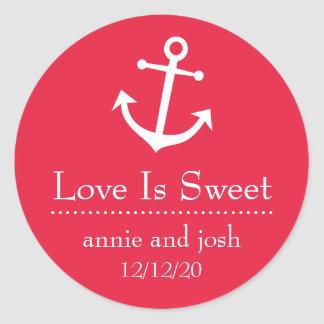 Boat Anchor Love Is Sweet Labels (Red) Classic Round Sticker