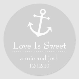 Boat Anchor Love Is Sweet Labels (Silver) Classic Round Sticker