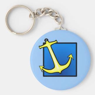 Boat Anchor Nautical Basic Round Button Keychain