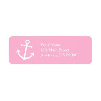 Boat Anchor Return Address Label (Pink / White)