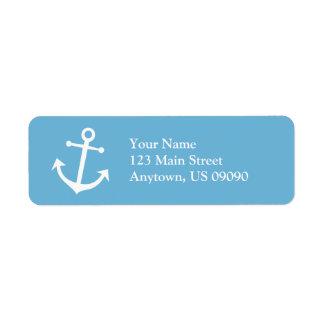 Boat Anchor Return Address Label (Sky Blue/White)