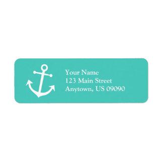 Boat Anchor Return Address Label (Teal / White)