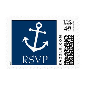 Boat Anchor RSVP Postage Stamp Dark Blue