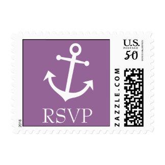 Boat Anchor RSVP Postage Stamp (Eggplant Purple)