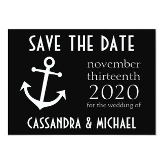 Boat Anchor Save The Date (Black) Card