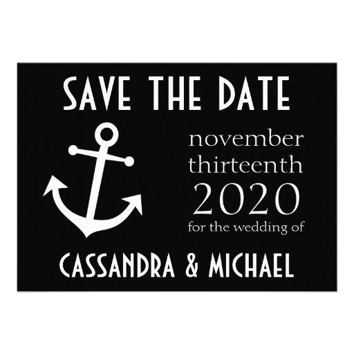 Boat Anchor Save The Date (Black) Custom Invite