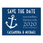 Boat Anchor Save The Date (Dark Blue) 5x7 Paper Invitation Card
