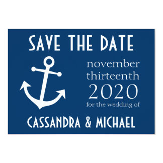 Boat Anchor Save The Date (Dark Blue) Card