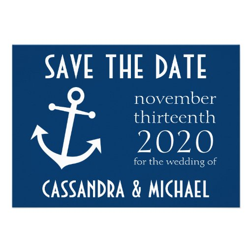 Boat Anchor Save The Date (Dark Blue) Announcement