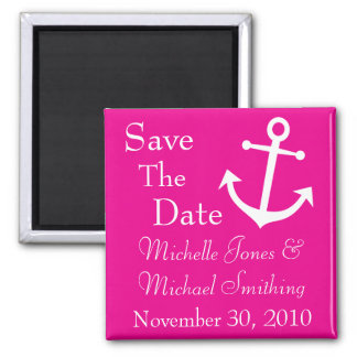 Boat Anchor Save The Date Magnets (Magenta)