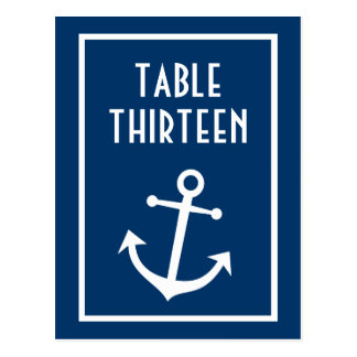 Boat Anchor Table Numbers (Dark Blue / White) Postcard