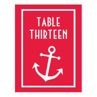 Boat Anchor Table Numbers (Red / White) Postcard