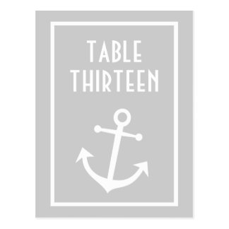 Boat Anchor Table Numbers (Silver / White) Postcard