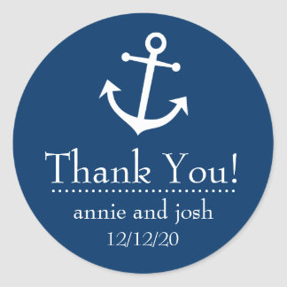 Boat Anchor Thank You Labels (Dark Blue) Classic Round Sticker