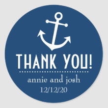 Boat Anchor Thank You Labels (Dark Blue) Sticker