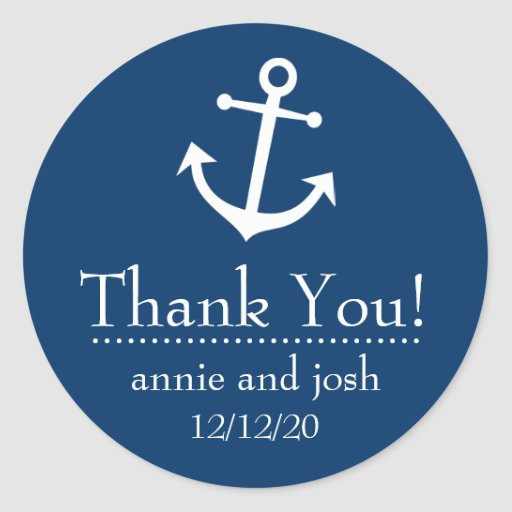 Boat Anchor Thank You Labels (Dark Blue) Round Stickers