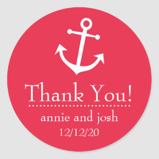 Boat Anchor Thank You Labels (Red) Classic Round Sticker
