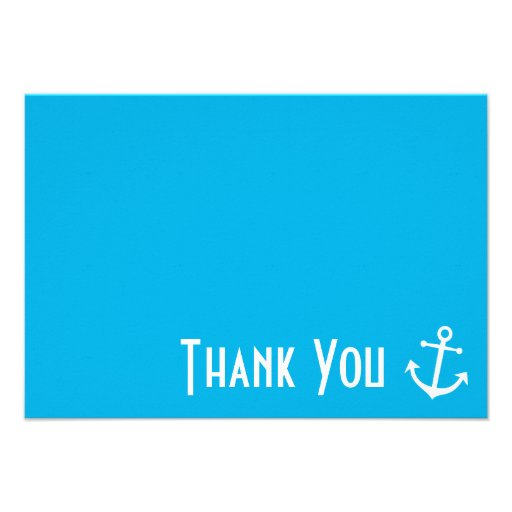 Boat Anchor Thank You Note Cards (Blue) Personalized Announcement