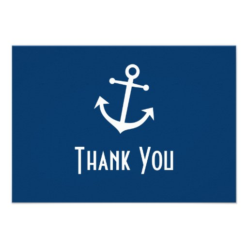 Boat Anchor Thank You Note Cards (Dark Blue) Personalized Invites