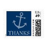 Boat Anchor Thanks Postage Stamp (Dark Blue)