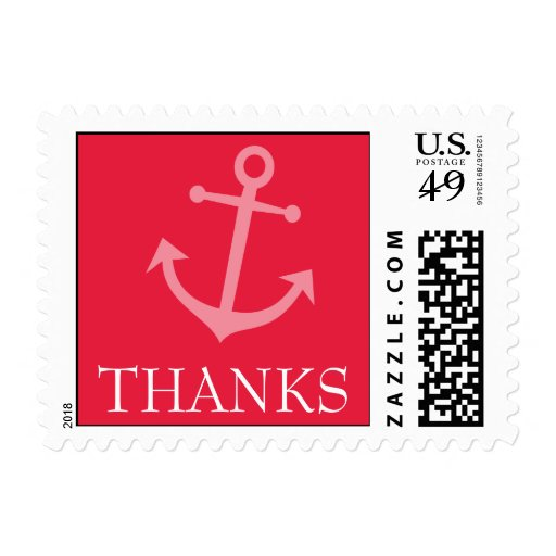 Boat Anchor Thanks Postage Stamp (Red)