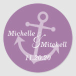 Boat Anchor Wedding Labels (Eggplant Purple) Round Stickers