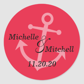 Boat Anchor Wedding Labels (Red) Classic Round Sticker