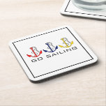 """Boat Anchors Drink Coaster<br><div class=""""desc"""">Three boat anchors in red, blue and yellow. &quot;Go Sailing Coaster&quot; makes a wonderful gift for people who own a boat, ship, yacht or love to sail. These great &quot;sailing drink mats&quot; are perfect for your beach house! To see more cool products-Please visit my store &quot;The Hungarican Princess&quot; at www.zazzle.com/hungaricanprincess*....</div>"""