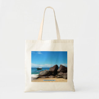 Boat and beach, Paraty, Brazil Tote Bags