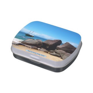 Boat and beach, Paraty, Brazil Candy Tins